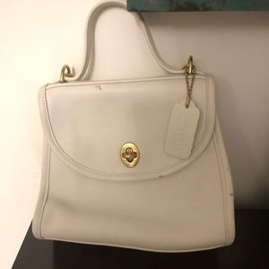 Vintage 90's Coach Crossbody in White Leather